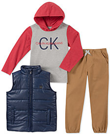 Calvin Klein Little Boys 3-Pc. Vest, Hoodie & Joggers Set