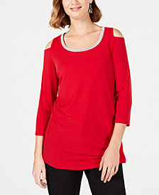 JM Collection Embellished Cold-Shoulder Top, Created for Macy's