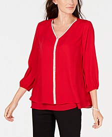 Petite Layered-Look Embellished Top, Created for Macy's