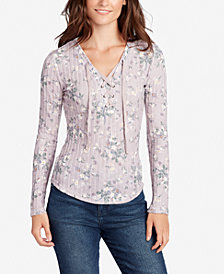 WILLIAM RAST Phoebe Printed Lace-Up Top