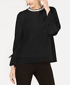 Alfani Textured-Stripes Embellished-Neck Top, Created for Macy's