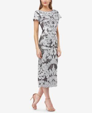 JS COLLECTIONS Two-Tone Soutache Midi Dress in Silver Gunmetal