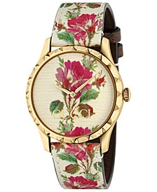 Women's G-Timeless Beige Flower Print Leather Strap Watch 38mm