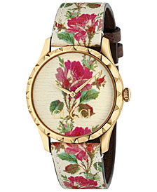 Gucci Women's G-Timeless Beige Flower Print Leather Strap Watch 38mm
