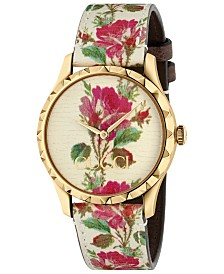 Gucci Women's G-Timeless Beige Flower Print Leather Strap Watch 38mm