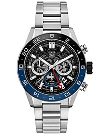 Men's Swiss Automatic Chronograph Carrera Heuer 02 Stainless Steel Bracelet Watch 45mm