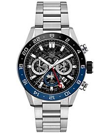 Men's Swiss Automatic Chronograph Carrera Heuer 02 Stainless Steel Bracelet Watch 45mm