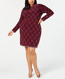 Betsy & Adam Plus Size Embellished Shift Dress