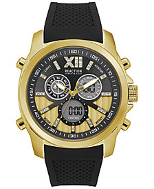 Kenneth Cole Reaction Men's Analog-Digital Black Silicone Strap Watch 47mm