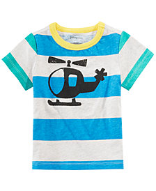 First Impressions Baby Boys Helicopter-Print Striped Cotton T-Shirt, Created for Macy's
