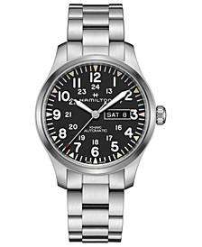 Men's Swiss Automatic Khaki Field Stainless Steel Bracelet Watch 42mm