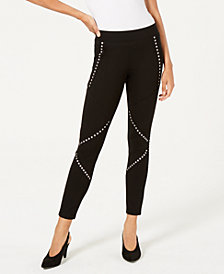 Bar III Mid-Rise Grommet-Detail Leggings, Created for Macy's