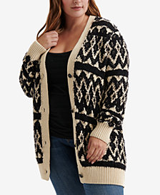 Lucky Brand Plus Size Diamond Fair Isle Cardigan