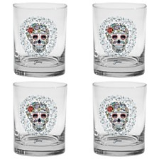 Fiesta Skull and Vine Sugar 14-Ounce Double Old Fashioned Glass Set of 4