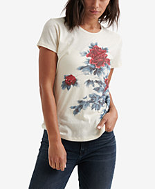 Lucky Brand Cotton Floral Watercolor-Graphic Top