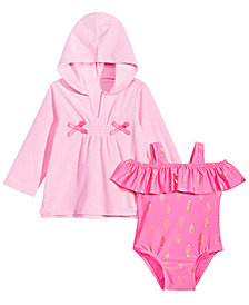 First Impressions Baby Girls Ice Cream-Print Bathing Suit & Bow Cover-Up Separates, Created for Macy's