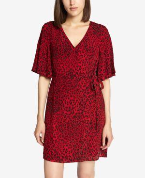 Girl On Fire Leopard Faux Wrap Dress in Red Leopard