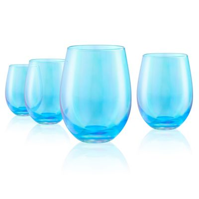 Set of 4 16oz. Luster Turquoise Stemless Glasses