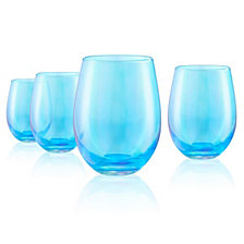 Artland Set of 4 16oz. Luster Turquoise Stemless Glasses