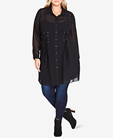 City Chic Trendy Plus Size Lace-Up Tunic