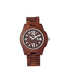 Heartwood Wood Bracelet Watch W/Date Red 43Mm