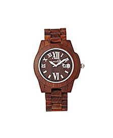 Earth Wood Heartwood Wood Bracelet Watch W/Date Red 43Mm
