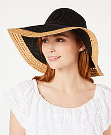I.N.C. Mixed Braid Colorblocked Floppy Hat, Created for Macy's