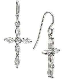 Giani Bernini Cubic Zirconia Marquise Cross Drop Earrings in Sterling Silver, Created for Macy's