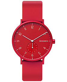 Skagen Unisex Aaren Aluminum Red Silicone Strap Watch 41mm Created for Macy's