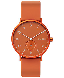 Skagen Unisex Aaren Aluminum Orange Silicone Strap Watch 41mm Created for Macy's