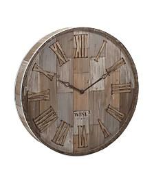 Imax Wine Barrel Wood Wall Clock