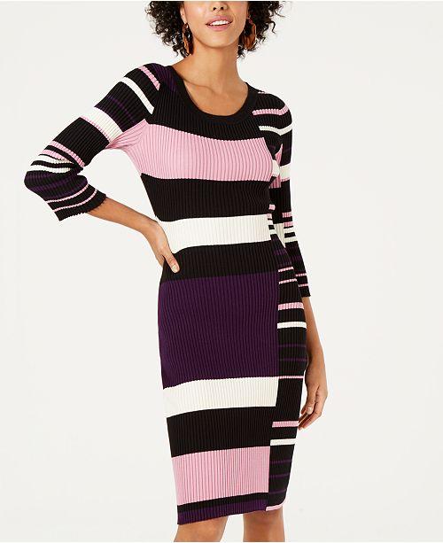Bar III Striped Sweater Dress, Created for Macy's