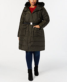 MICHAEL Michael Kors Plus Size Faux-Fur-Trim Hooded Belted Down Coat