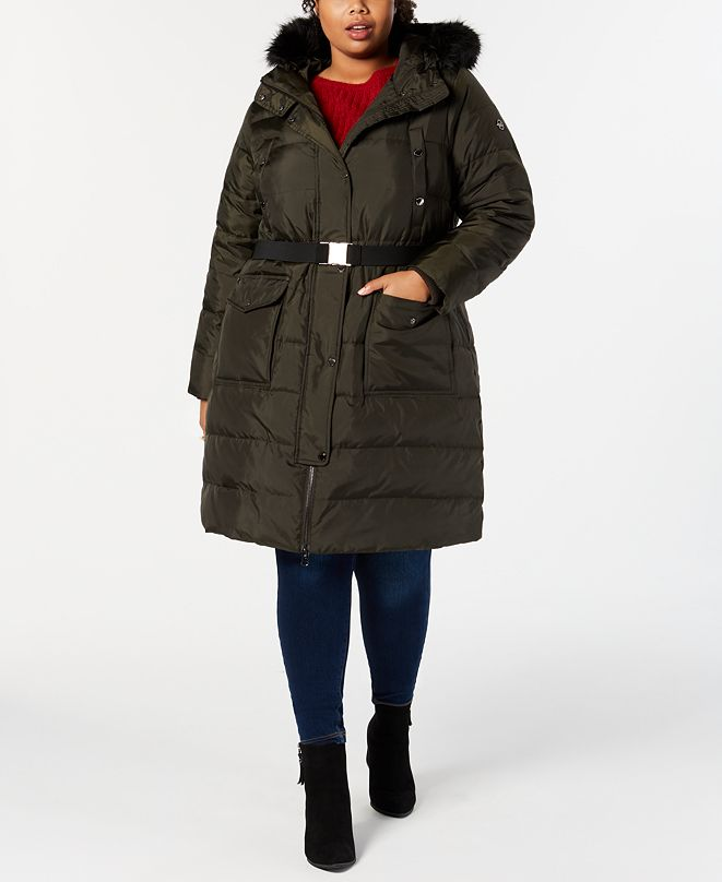 Michael Kors Plus Size Faux-Fur-Trim Hooded Belted Down ...