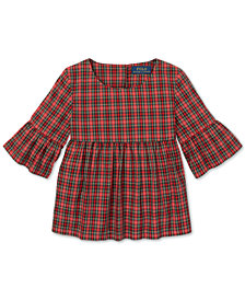 Polo Ralph Lauren Toddler Girls Tartan Cotton Bell-Sleeve Top