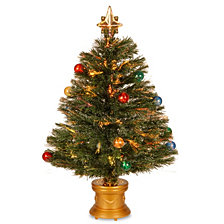 "National Tree 32"" Fiber Optic Fireworks Tree with Ball Ornaments"