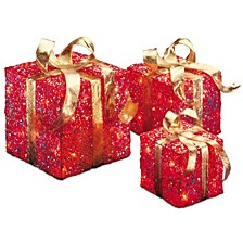 National Tree PreLit Red Sisal Gift Box Assortment