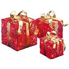 National Tree PreLit Red Sisal Gift Box Assortment