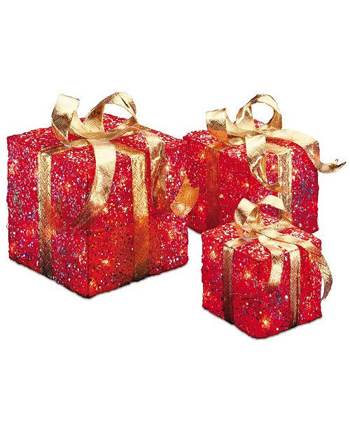 National Tree Company National Tree PreLit Red Sisal Gift Box Assortment