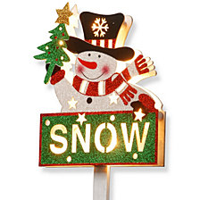 "National Tree PreLit 35"" Snowman with SNOW Sign"