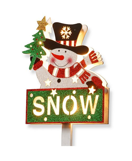 """National Tree Company National Tree PreLit 35"""" Snowman with SNOW Sign"""