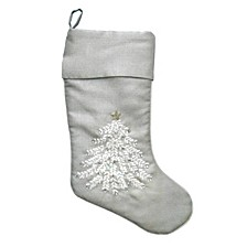 "14"" x 19"" Silver Stocking with Xmas Design"