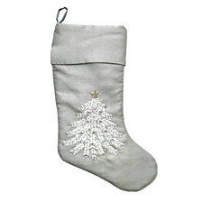 "National Tree Company 14"" x 19"" Silver Stocking with Xmas Design"