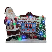 "National Tree Company 33.5"" Santa Countdown to Christmas Clock withLED Lights & Music"