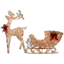 National Tree Company Reindeer and Santa's Sleigh with LED Lights
