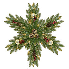 "National Tree Company 32"" Gold Dunhill Fir Snowflake w/ 35 Warm White Battery Operated LED Lights"
