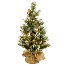 National Tree 2' Golden Bristle Pine Memory-Shape Burlap Tree with Gold Glittered Cones, Gold Ornaments 15 Warm White Battery Operated LED Lights w,Timer