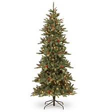 National Tree 7 .5' Richland Blue Fraser Fir Hinged Tree with Cones 450 Clear Lights