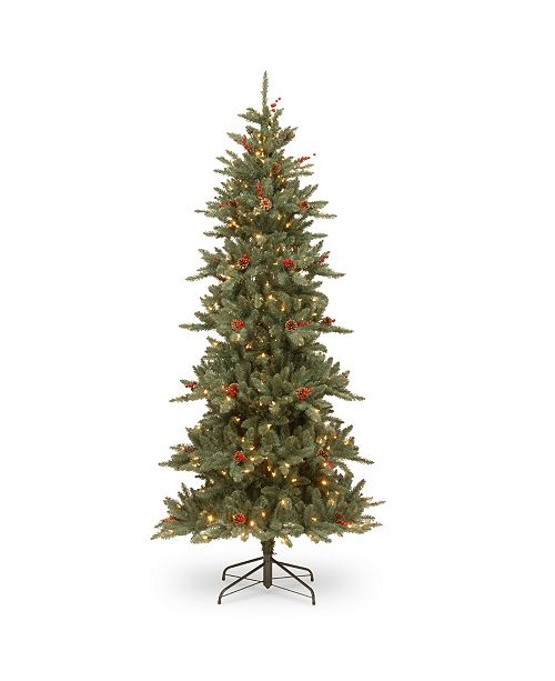 National Tree Company National Tree 7 .5' Richland Blue Fraser Fir Hinged Tree with Cones 450 Clear Lights