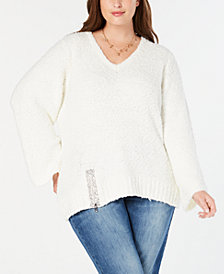 I.N.C. Plus Size Rhinestone-Zipper Sweater, Created for Macy's